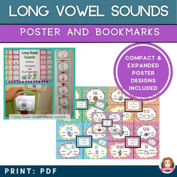 Long Vowel Sound Bookmark & Poster Bundle with QR Codes to Vowel Sound Stories