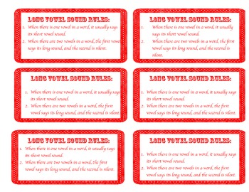 Long Vowel Sound Rules