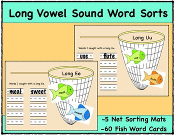 Long Vowel Sound Word Sort Mats, 5 Net Mats and 60 Fish Word Cards