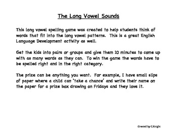 Long Vowel Sounds