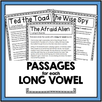 Long Vowel Sounds - A, E, I, O, U Reading Passages and Comprehension Questions
