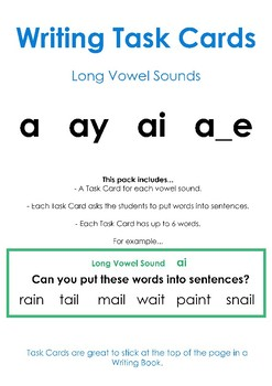 Long Vowel Sounds A - Writing Task Cards