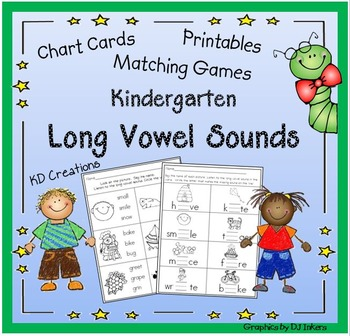 Kindergarten Long Vowel Sounds  *  Matching Games  *  Printables