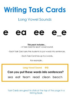 Long Vowel Sounds E – Writing Task Cards