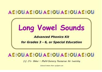 Long Vowel Sounds Word Set - Grades 3 - 6 or Special Education Phonics Activity
