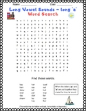 Long Vowel Sounds - Long 'a' Word Search Puzzle for Grades 2 & 3