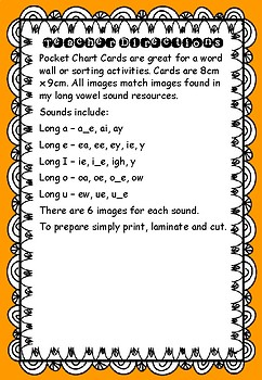 Long Vowel Sounds - Pocket Chart Cards