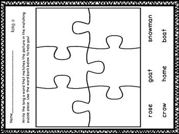 Long Vowel Sounds Puzzle Center