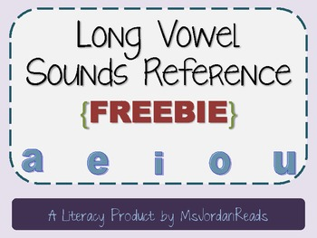 Long Vowel Sounds Reference {FREEBIE}