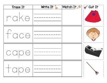 Long Vowel Sounds : Trace, Write, Match, Glue Activity 25 Pages