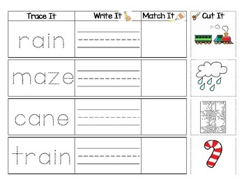 Long Vowel Sounds : Trace, Write, Match, Glue Activity 25 Pages