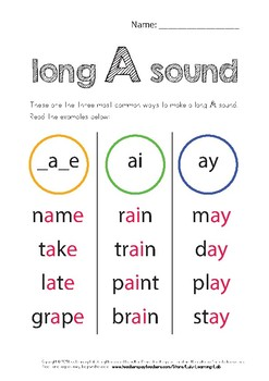 Long Vowel Sounds Worksheets by Lulu Learning Lab   TpT