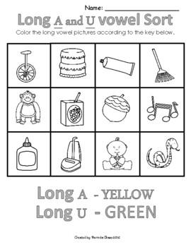 Long Vowel Sounds Worksheets and Flash Cards  Kindergarten ...