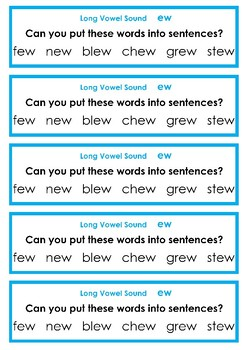 Long Vowel Sounds- Writing Task Cards