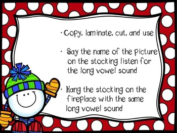 Long Vowel Stockings Sort to Hang on the Long Vowel Fireplaces