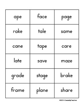 Long Vowel Take-Home Flash Cards