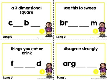 Long Vowel Task Cards: Long U