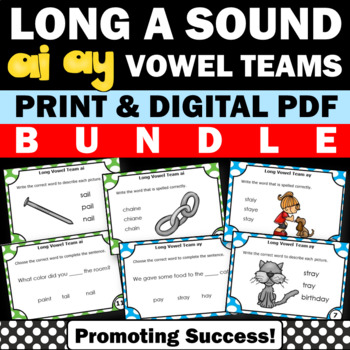 Long a Vowel Teams BUNDLE, AI AY Task Cards for Phonics Games, 1st Grade Review