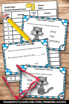 Long A ai and ay Activities Bundle of Task Cards Long Vowel Team Center SCOOT