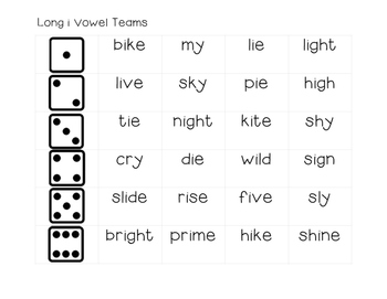 Long Vowel Team Dice Game