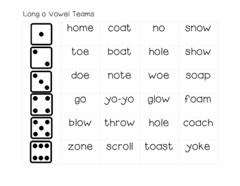 Long Vowel Team Dice Game