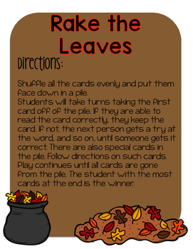 Long Vowel Team Game (Fall themed)