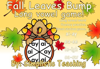 Long Vowel Team ai ay ea ee ie igh oa ow Bump Literacy Center Game Fluency