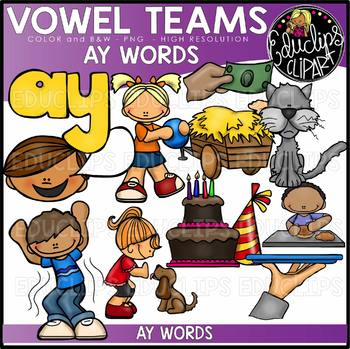 Long A Vowel Team - 'ay' - Clip Art Bundle {Educlips Clipart}