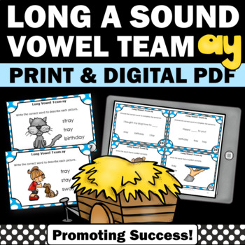 Vowel Team { ay } Task Cards for Literacy Center Phonics G