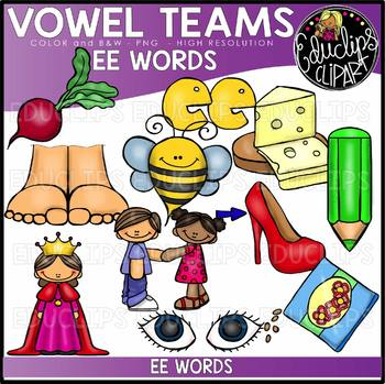 Long E Vowel Team - 'ee' - Clip Art Bundle {Educlips Clipart}