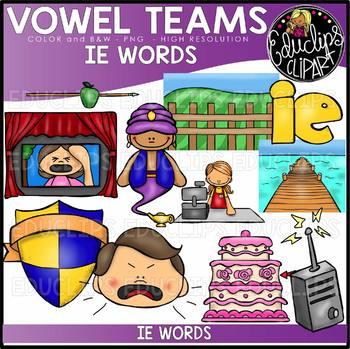 Long E Vowel Team 'ie' (e sound) - Clip Art Bundle {Educlips Clipart}