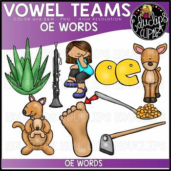 Long O Vowel Team 'oe' - Clip Art Bundle {Educlips Clipart}