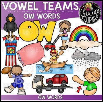 Long O Vowel Team - 'ow' - Clip Art Bundle {Educlips Clipart}