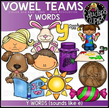 Long E Vowel Team 'y' (e sound) - Clip Art Bundle {Educlips Clipart}