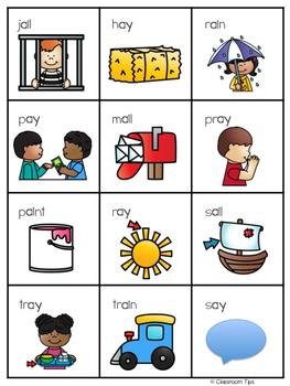 Long Vowel Teams: AI  & AY Bingo (Color and B&W)