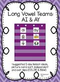 Long Vowel Teams: AI  & AY (Color and B&W)