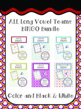 Long Vowel Teams BINGO Bundle (ALL, and in COLOR & BW)