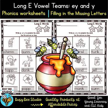Long Vowel Teams: EY and Y Worksheets