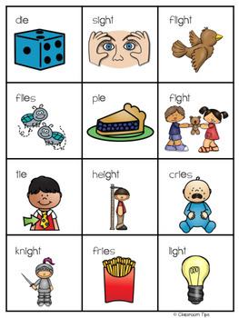 Long Vowel Teams: IE & IGH Bingo (Color and B&W)