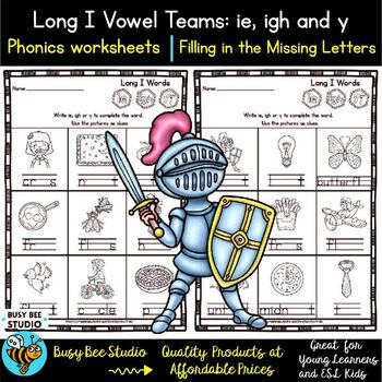 Long Vowel Teams: IE, IGH, Y Worksheets