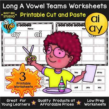 Long Vowel Teams Sorts BUNDLE | Cut and Paste Worksheets