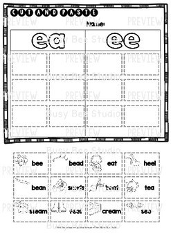 Long Vowel Teams Sorts: EE -EA | Cut and Paste Worksheets