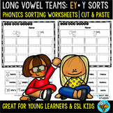 Long Vowel Teams Sorts: EY -Y | Cut and Paste Worksheets