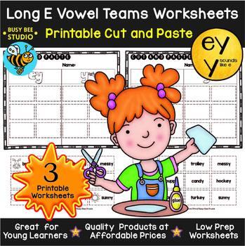 Long Vowel Teams Sorts: EY -Y | Cut and Paste Worksheets