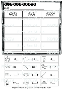 Long Vowel Teams Sorts: OA-OE-OW | Cut and Paste Worksheets