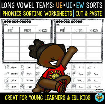 Long Vowel Teams Sorts: UI-UE-EW | Cut and Paste Worksheets