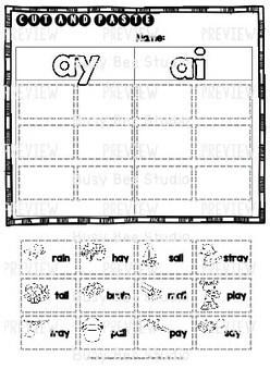 Long Vowel Teams Sorts: ay -ai | Cut and Paste Worksheets