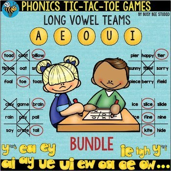 Long Vowel Teams Tic-Tac-Toe Games -BUNDLE-