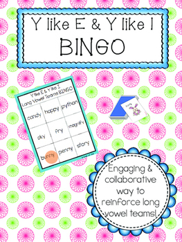 Long Vowel Teams: Y like E  & Y like I Bingo (Color and B&W)