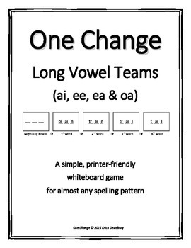 "Long Vowel Teams (ao, ai, ee, ea)- ""One Change"" Whiteboard Game"